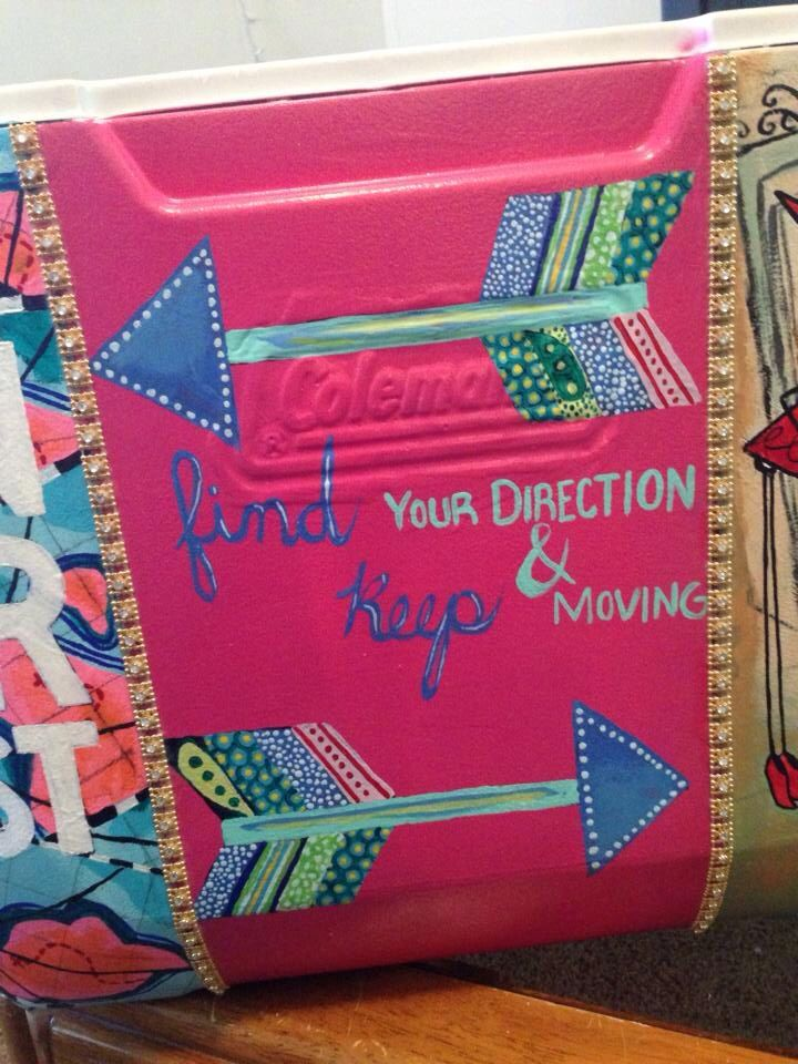 painted coolers: ARROWS 'find your direction and keep moving' ............ I want to do this with our family camping and picnic coolers ..........