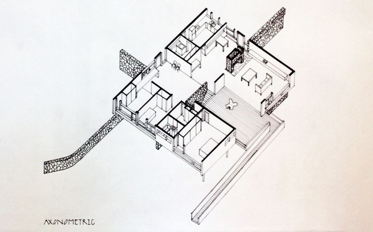 Axonometric projection of Rose Seidler House by Demas Rusli: September 2010.
