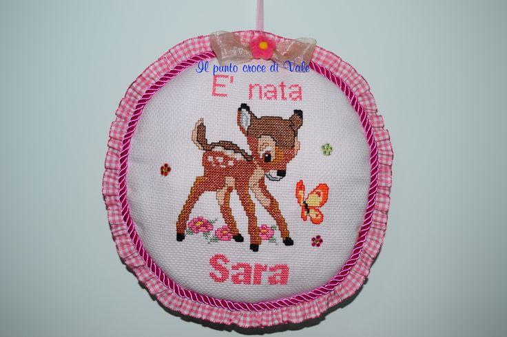Il fiocco nascita realizzato per la mia prima nipotina! Visita la mia pagina Facebook: IL PUNTO CROCE DI VALE