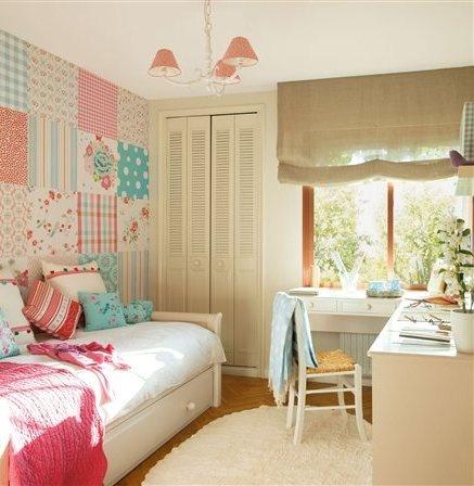 Precioso cuarto de niña,me encanta el papel