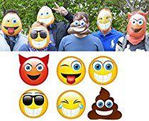 BUSDUGA - Emoticon Masken 6er Set , der BLICKFANG ideal für Geburtstage,Karneval, Hochzeiten u.s.w