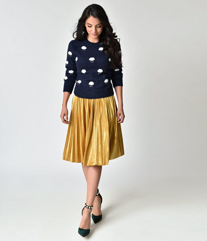 Retro Style Mustard Yellow Velvet Pleated Midi Skirt Vintage Style Fashion Clothing And Outfit Yellow Dress Outfit Velvet Skirt Outfit Velvet Pleated Skirt