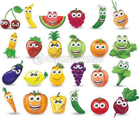 Dibujos animados de frutas y verduras con diferentes emociones — Ilustración de…