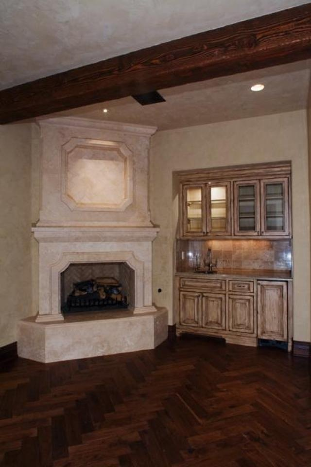 Estate Home Master Bedroom Fireplace and Wet Bar