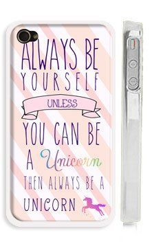 """Amazon.com: Cute Unicorn iPhone 6 Case - Pink Unicorn Quote iPhone 6 Case for Girls """"Always be yourself! Unless you can be a unicorn...then always be a unicorn"""": Cell Phones & Accessories"""