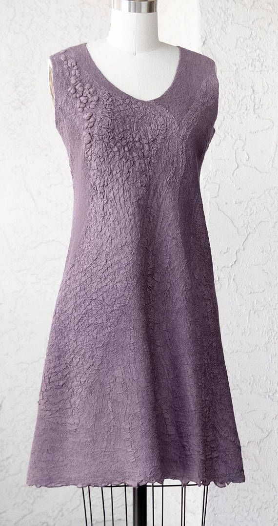 Felted gray purple silk woman dress OOAK seamless dress gown