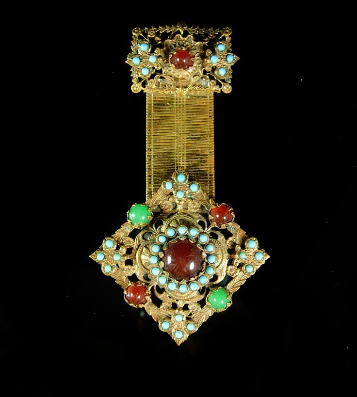 Edwardian Fob Brooch turquoise jeweled fancy watch chain design Karu signed victorian gold Sweetheart jewelry
