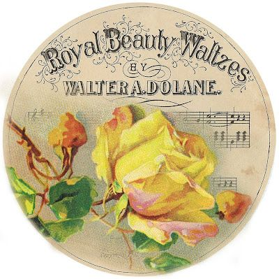 Round yellow rose and music tag ~ free graphic