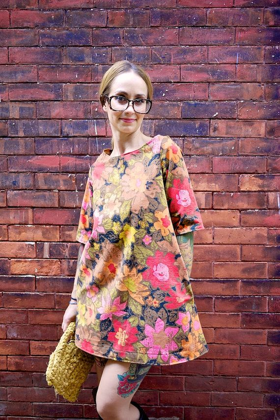 Floral 3/4 Sleeve Fall Into Mod A Line Dress~Made to Order~All Size~Many Fabrics/Colors~Any Length~Retro Fabric~Mini Dress~Day Dress~Party