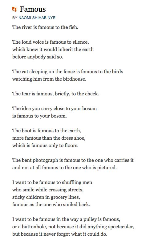 """Naomi Shihab Nye - """"Famous"""" - simplicity, vocation, perspective, trust"""