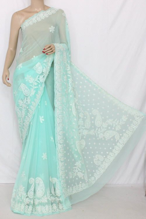 Light Sea Green Hand Embroidered Lucknowi Chikankari Saree (With Blouse - Georgette) 13678