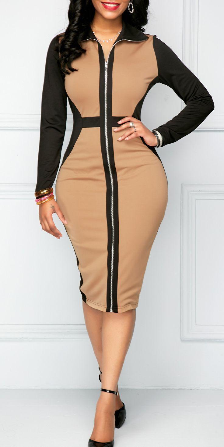 Color Block Long Sleeve Sheath Dress.