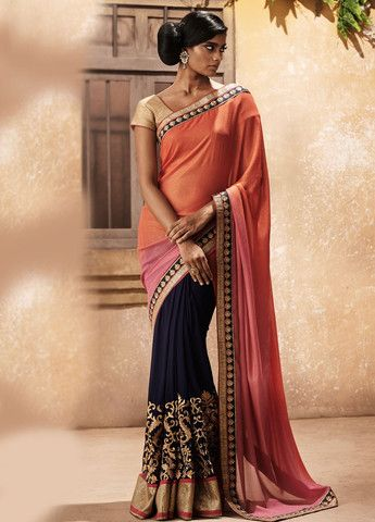 Royal Blue Multicolor Saree | Lashkaraa