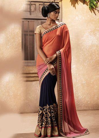 Royal Blue Multicolor Saree | Lashkaraa