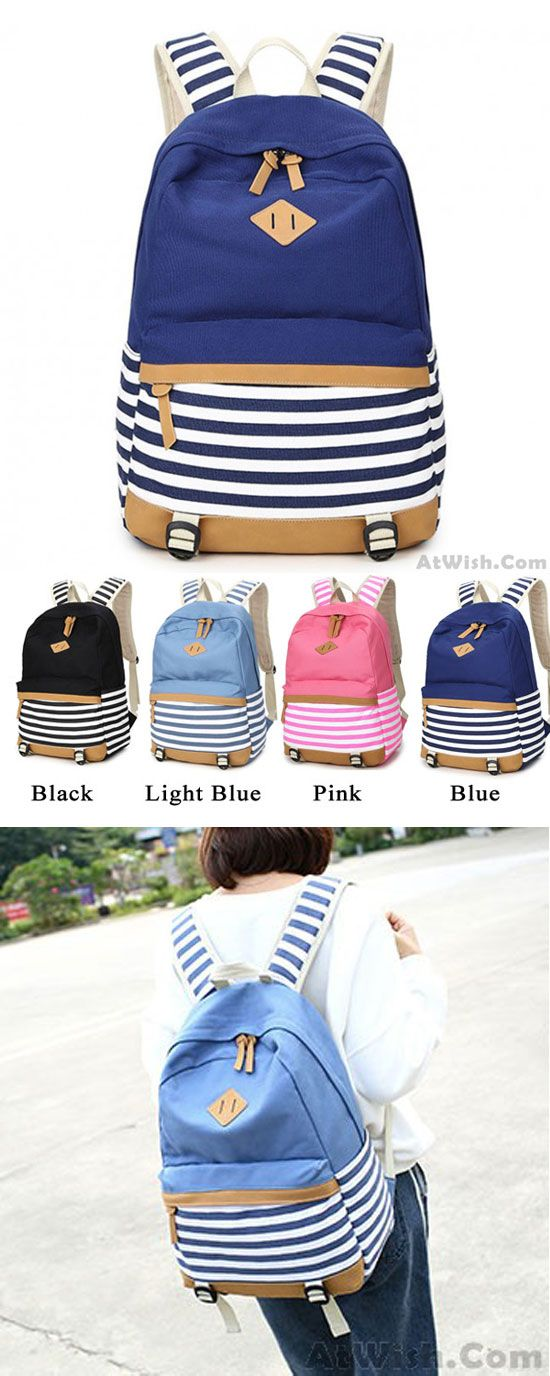 Which color do you like? Fresh Splice Striped Trunk Travel Rucksack School Canvas Backpack #backpack #canvas #rucksack #Stripe #school