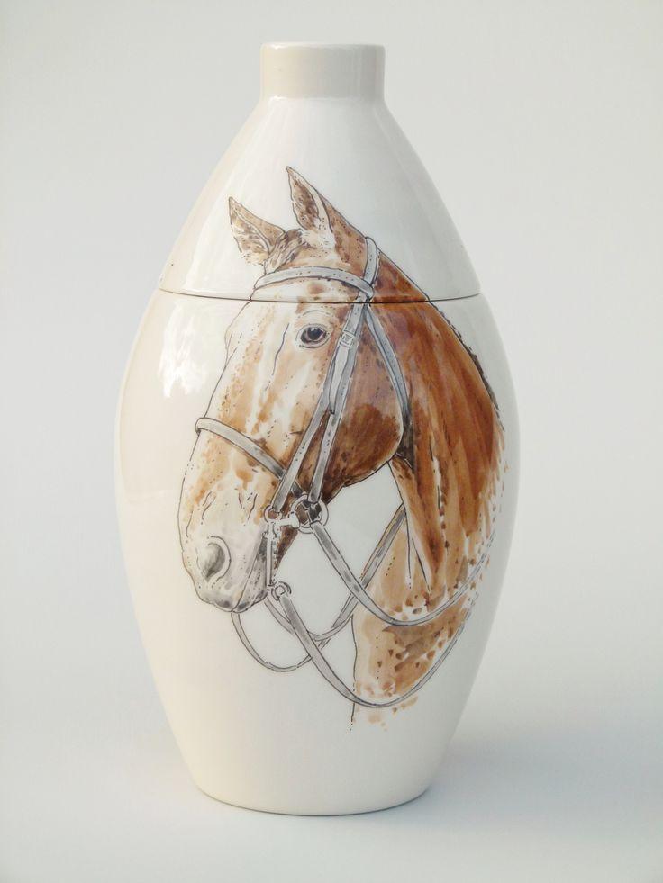 Hand painted cremation urn - Horse - Phoenix Urns