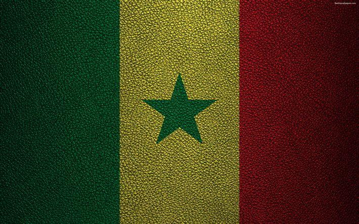 Download wallpapers Flag of Senegal, Africa, 4K, leather texture, Senegalese flag, flags of African countries, Senegal