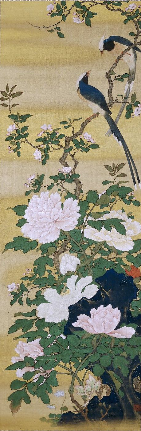 One of a pair of Japanese hanging scrolls: long-tailed birds, prunus blossom and peonies (right), a pair of white birds, cotton roses, gentians and chrysanthemums (left). Maruyama Okyo (円山応挙). 1764-1772. British Museum.