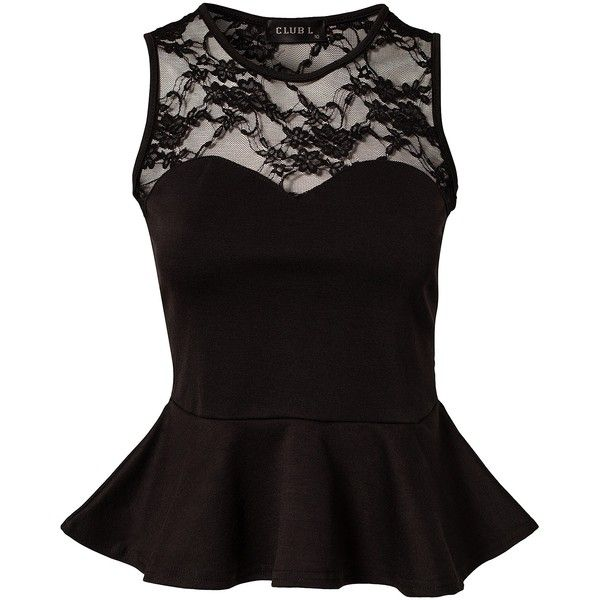 Club L Candy Lace Peplum Top found on Polyvore