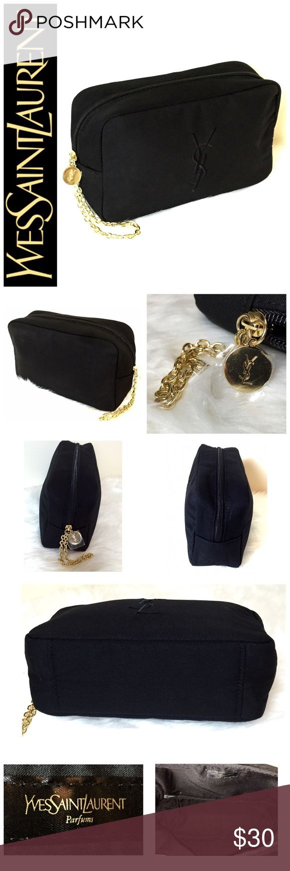 "Yves Saint Laurent Designer Cosmetic Travel Bag Yves Saint Laurent Designer Cosmetic Travel Bag, Beautiful Black YSL Stitching in Black Canvas with Gold Hardware, Approx. Size is 8 1/2""x 5""x 2 3/4"", A Must Have for Every Traveling Woman, NWOT! Bags Cosmetic Bags & Cases"