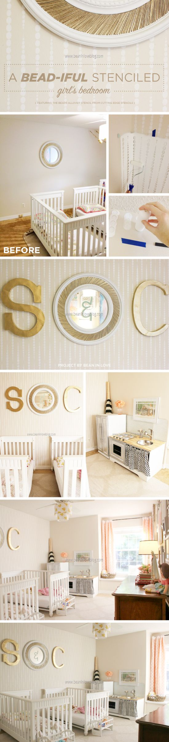 863 best from stencil stories images on pinterest cutting edge stencils shares a diy girl s stenciled bedroom using the beads allover stencil http