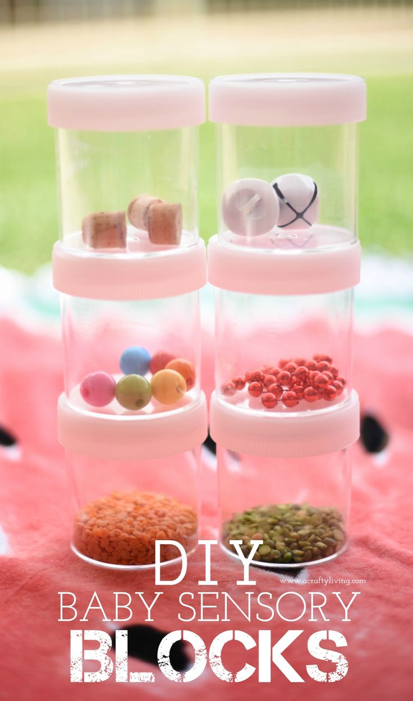 Shake 'em, Stack 'em, Knock 'em & repeat – DIY Sensory Blocks for Babies! Simple & Inexpensive Play idea for Babies & Toddlers! www.acraftyliving.com