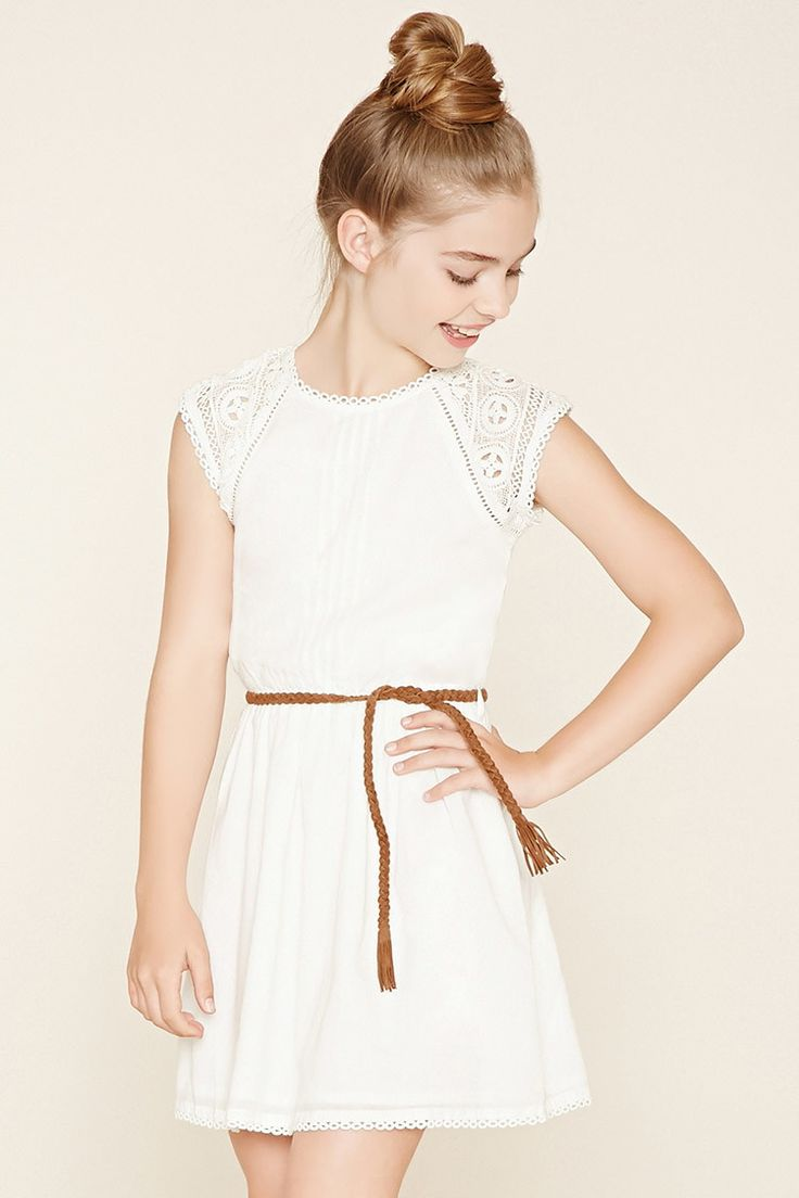 Forever 21 Girls - A woven dress with delicate crochet trim, floral cutout crochet at the cap sleeves, a pintucked bodice, a button-keyhole back, and a self-tie braided faux suede belt at its elasticized waist.