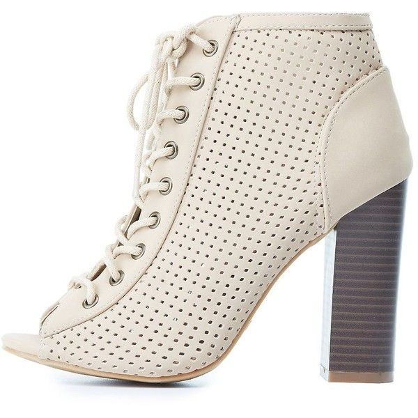 Bamboo Perforated Lace-Up Booties (260 DKK) ❤ liked on Polyvore featuring shoes, boots, ankle booties, nude, bohemian boots, open-toe boots, stacked heel booties, nude boots and chunky booties