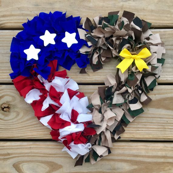 Support our heroes all year long with this patriotic & sentimental wreath! This Half My Heart is in the Army wreath features a split design with army camouflage on one half and a symbolic red, white, and blue flag on the other. This wreath also features a detachable yellow ribbon for