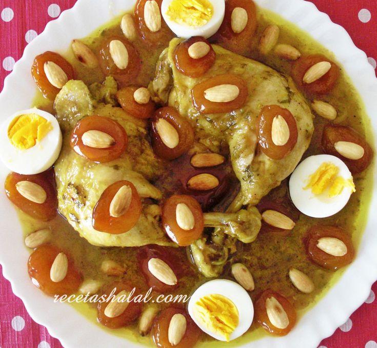 Tajine de pollo con albaricoques caramelizados - Recetas Halal