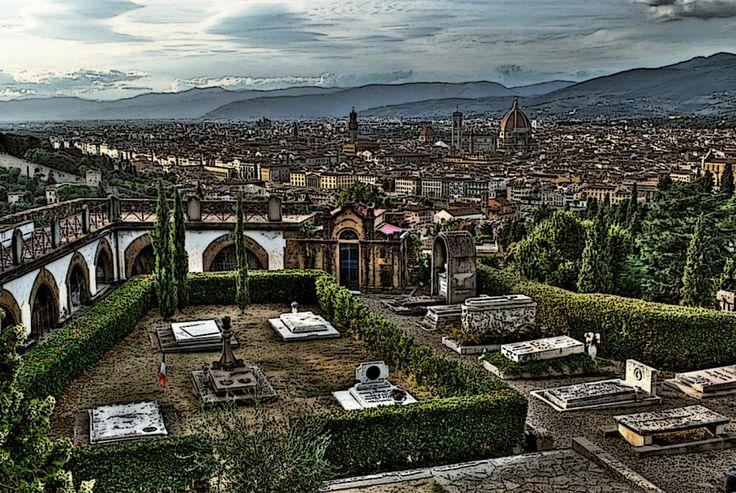 """Panorama del cimitero delle """"Porte Sante"""", Firenze."""