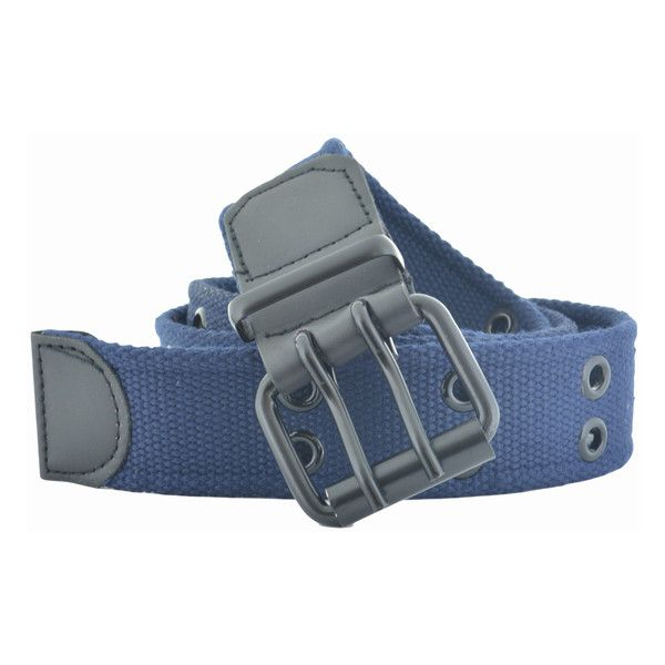 Men's Faddism Double Hole Grommets Canvas Web Belt ($12) ❤ liked on Polyvore featuring men's fashion, men's accessories, men's belts, belts & suspenders, blue, mens belts and mens blue belt