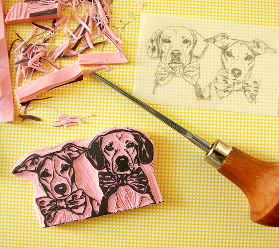 Pet portrait - DOUBLE portrait - custom stamp - hand carved - pet stamp - personalised stamp - pet birthday - wedding favors