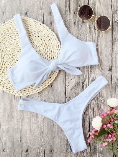 SHARE & Get it FREE | Padded Knotted Thong Bikini - White LFor Fashion Lovers only:80,000+ Items • New Arrivals Daily Join Zaful: Get YOUR $50 NOW!