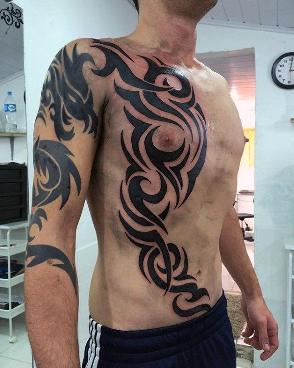 4dc349e6a01d4 Top 40 Best Tribal Rib Tattoos For Men - Manly Ink Design Ideas ...