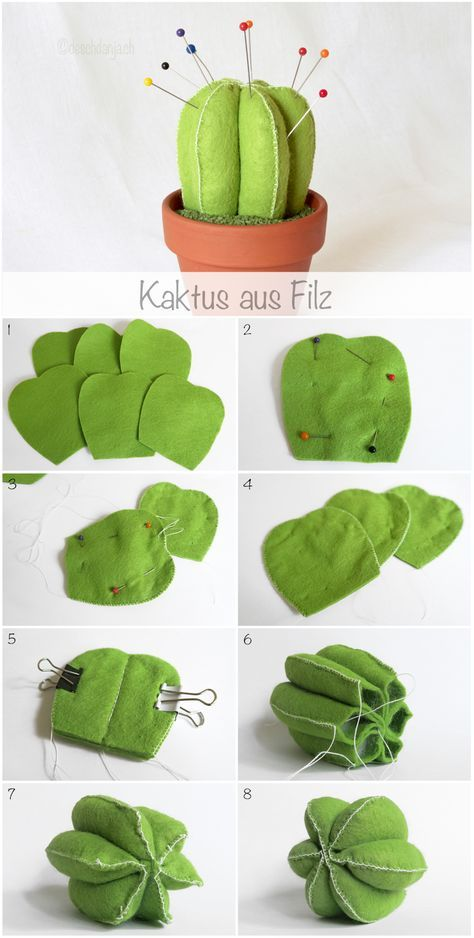 Felt cactus pincushion tutorial, www.deschdanja.ch