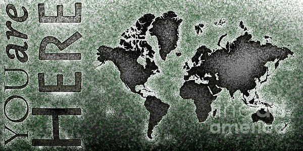 World Map Novo Panoramic with 'You Are Here' text in Black And Green by elevencorners. World map art wall print decor.  #elevencorners #mapnovo
