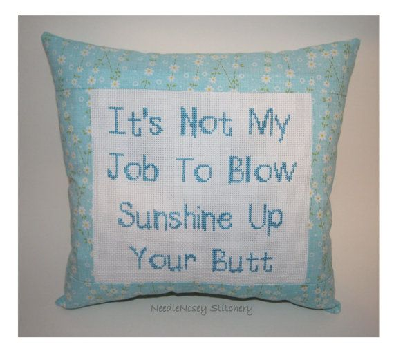 Funny Cross Stitch Pillow Blue Pillow Sunshine by NeedleNosey,