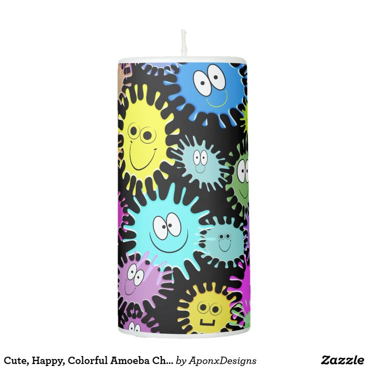 Cute, Happy, Colorful Amoeba Characters Candle