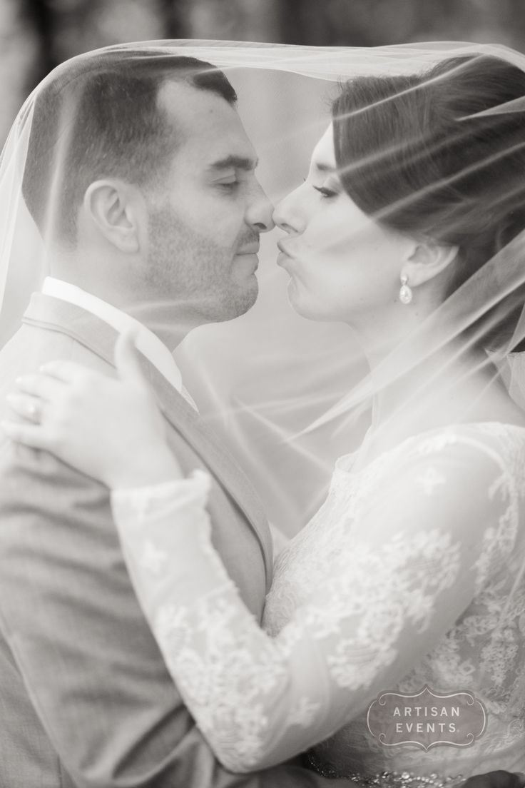 Lace Wedding Dress | Kiss Under a Veil | Veil Kiss | Black and White Photo | Romantic Kiss | Cute Kiss