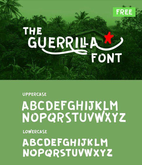 Guerrilla #free #Script #Font Guerrilla is a little bit rough, a bit graffiti and a little bit brush flavored free font designed by Carlos Zubia