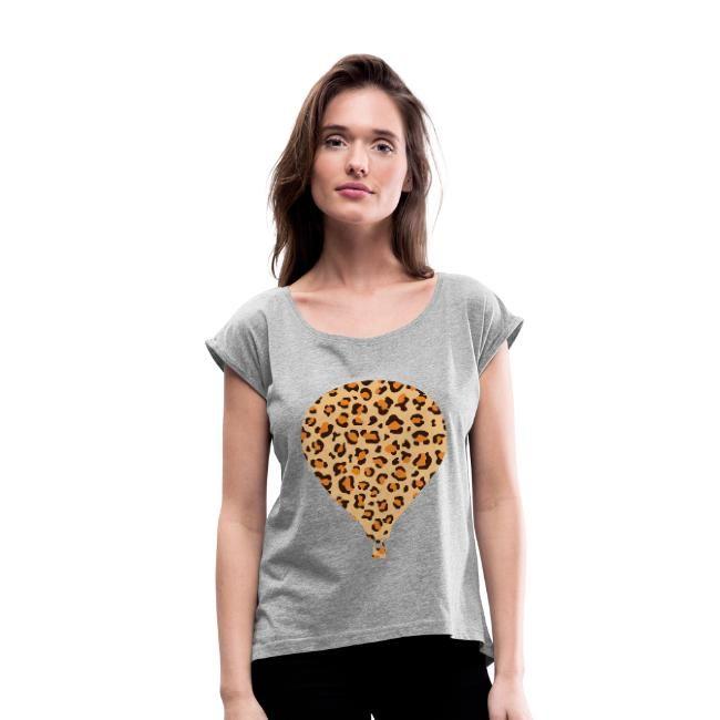 Animal Print Balloon | Vrouwen T-shirt met opgerolde