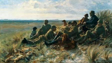 Landfolk, der tager en pause fra jagten. Mens de sidder og slapper af spejder den ene af hundene efter nyt bytte.