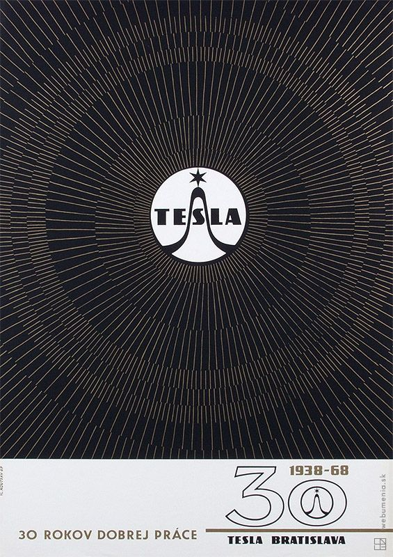 poster for TESLA Bratislava manufacturer of radios and televisions - 30th  celebration - 1938 - 68  /// 30 years of good work ///  Grafický dizajn | Web umenia