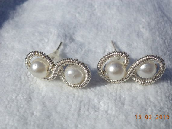 duble perls earrings by Agibiju on Etsy
