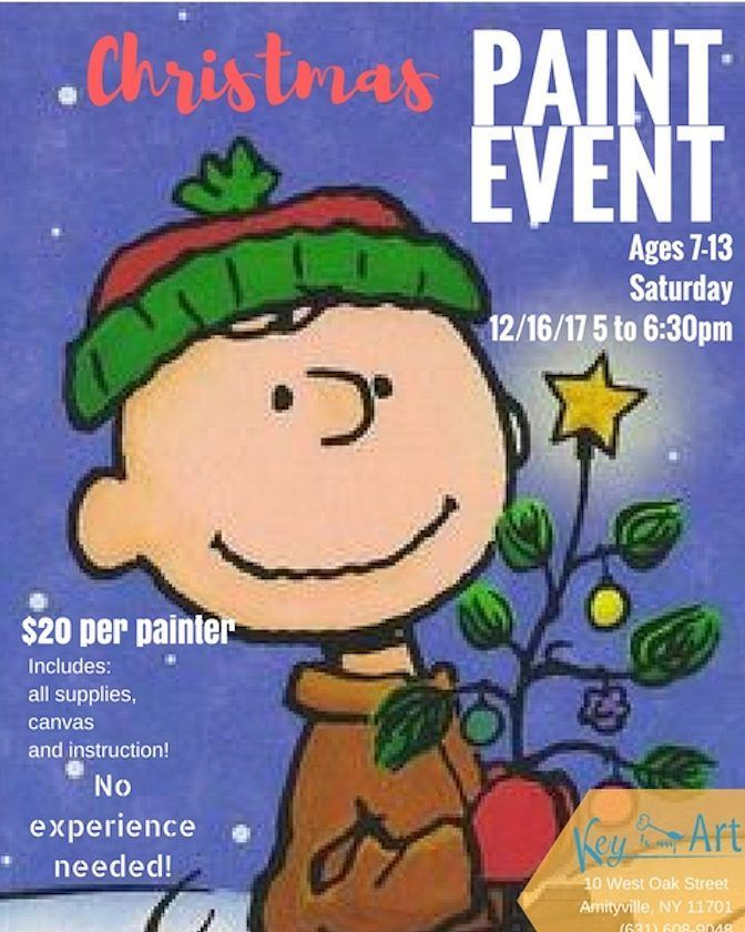 Christmas Kids Paint event! Register online!  #charliebrown #christmastree #christmas #paintingclasseslongisland #paintnightkidslongisland