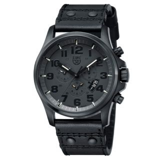 Luminox - Field Chrono Alarm (1881.BO) Black on Black, Black leatherstrap, Ø 47 mm  Kr 7.495,00