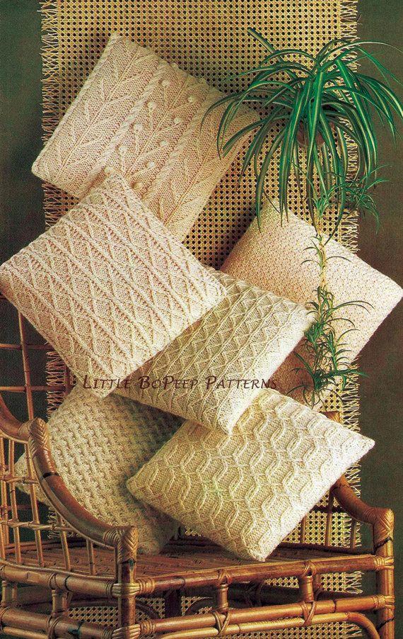Aran Cushion Covers Knitting Pattern in 6 designs – PDF knitting pattern – Jolanda