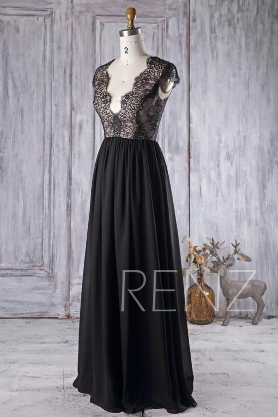 3e488ec279ec Bridesmaid Dress Black Wedding Dress Illusion Back Prom Dress V Neck ...