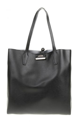6e4091347972 GUESS - Γυναικεία τσάντα ώμου διπλής όψης BOBBI LARGE INSIDE OUT TOTE μαύρη-ασημί